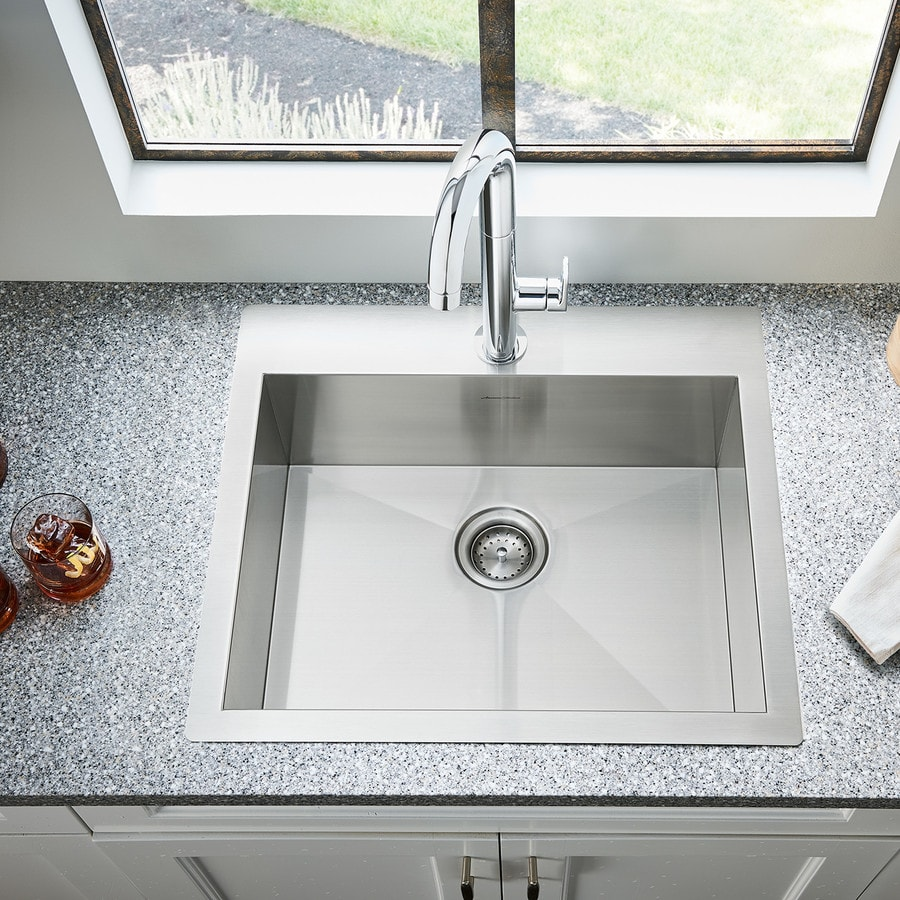 American Standard 22.0-in x 25.0-in Single-Basin Stainless Steel Drop-in or Undermount 1-Hole Residential Kitchen Sink All-In-One Kit