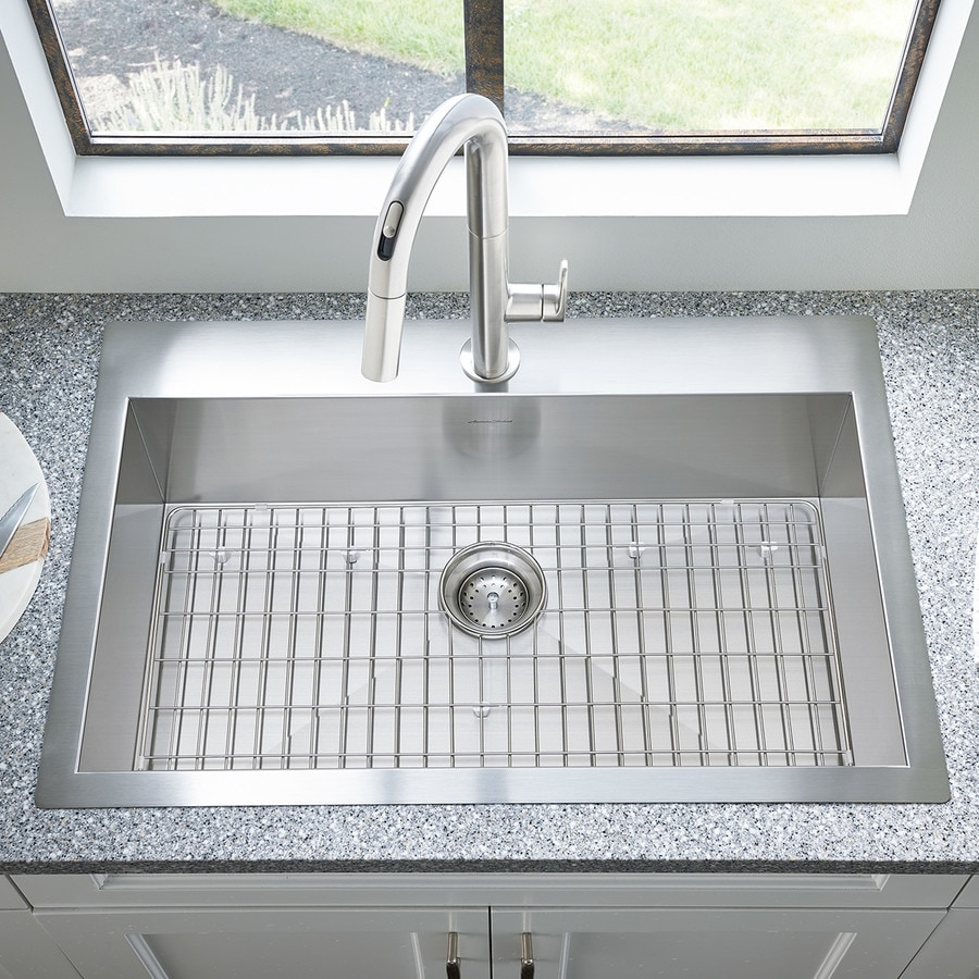 American Standard 33 In X 22 In Stainless Steel Single Basin Drop In Or  Undermount 1 Hole Residential Kitchen Sink