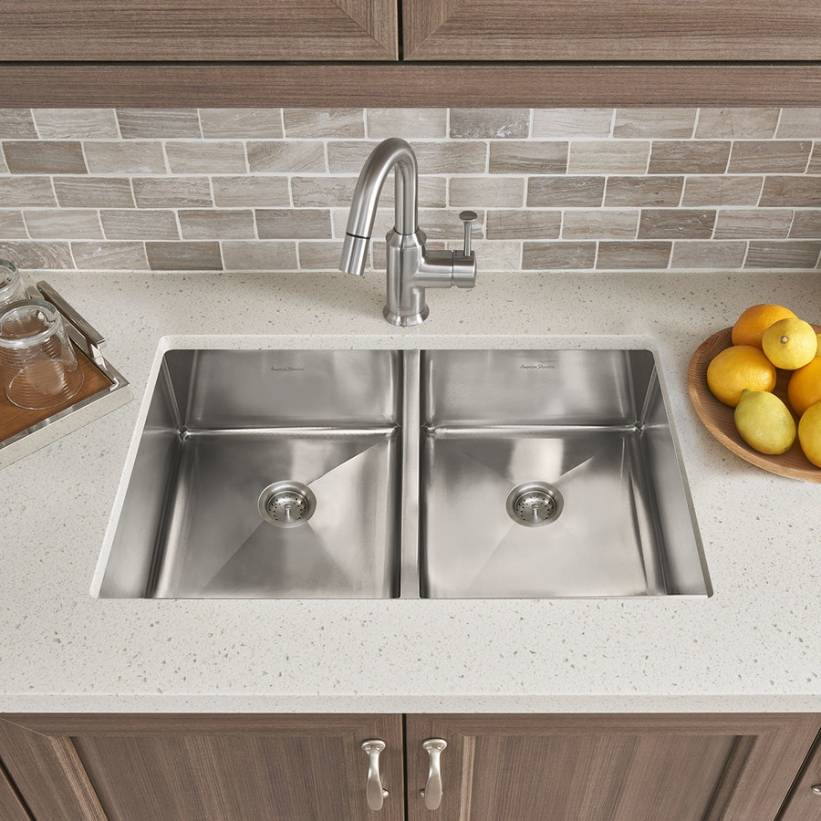 Shop american standard 18 0 in x 29 0 in double basin stainless steel undermount residential - American standard kitchen sink ...
