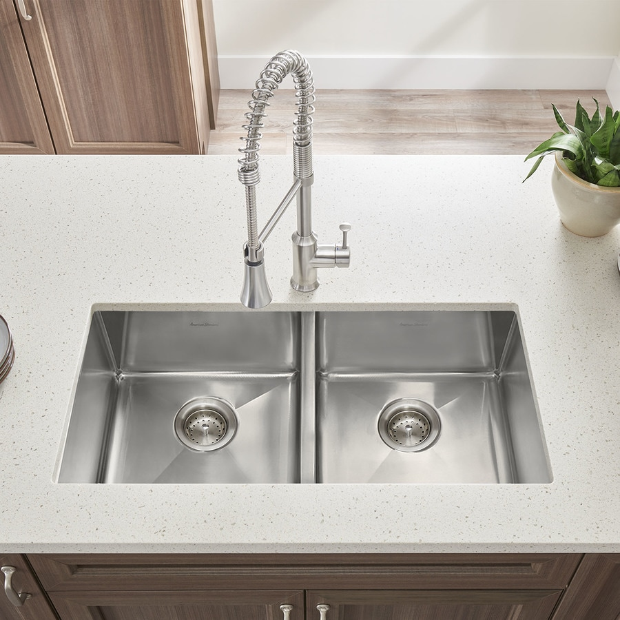American Standard 18.0-in x 35.0-in Double-Basin Stainless Steel Undermount Residential Kitchen Sink