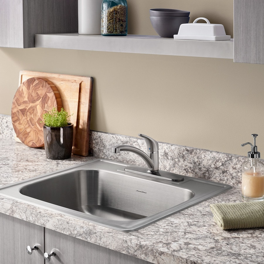 Shop american standard 22 in x 25 in stainless steel single basin drop in 3 hole residential - American standard kitchen sink ...