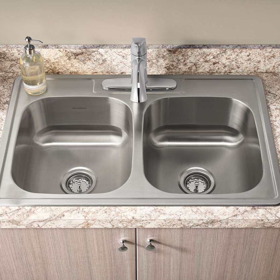 American Standard 22-in x 33-in Stainless Steel Double-Basin Drop-In 3-Hole Residential Kitchen Sink