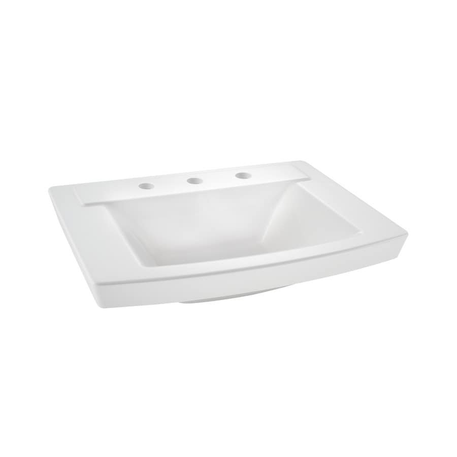 Shop American Standard Townsend White Fire Clay Rectangular Undermount Bathroom Sink Overflow
