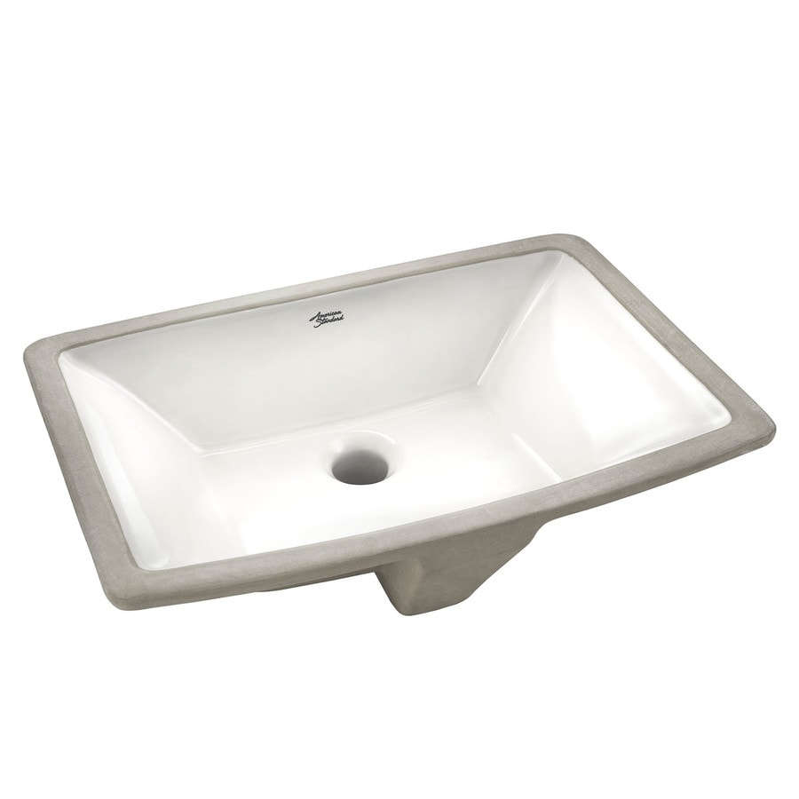 American Standard Townsend White Rectangular Undermount Bathroom Sink  Overflow Drain