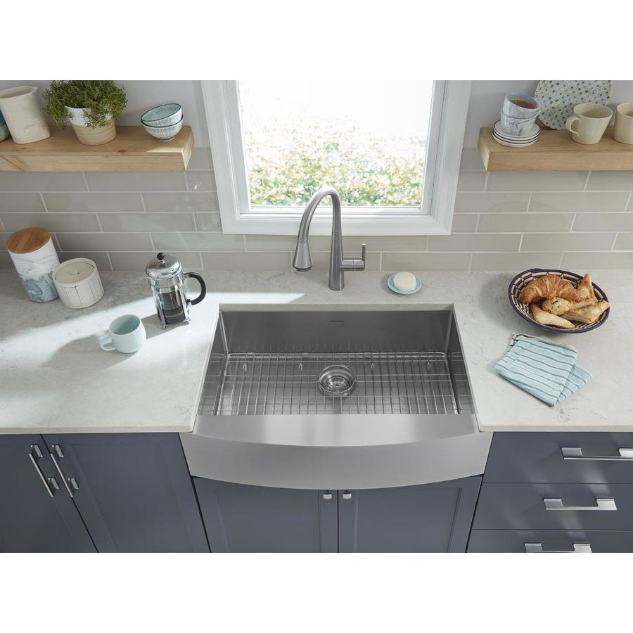 Shop american standard suffolk 33 in x 22 in stainless Stainless steel farmhouse sink