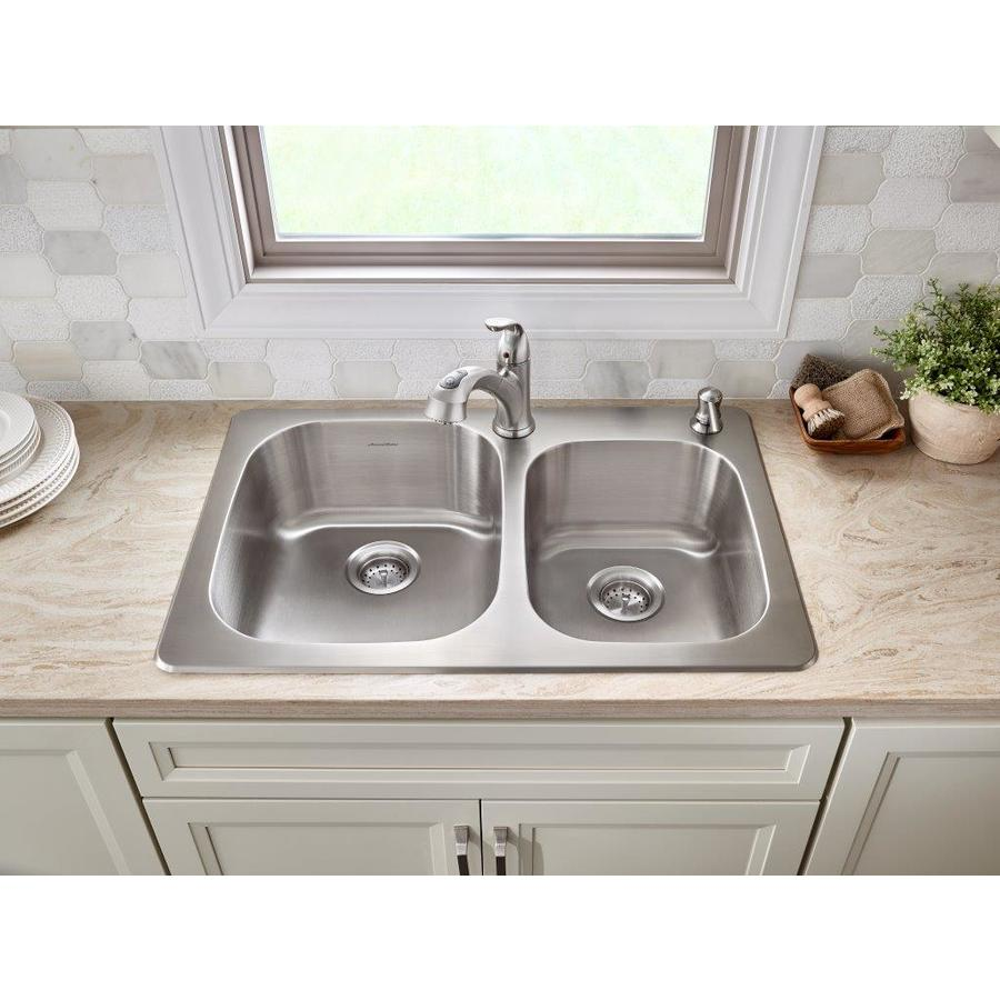 Shop American Standard Sullivan 33-in x 22-in Stainless Steel Double ...