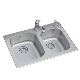 American Standard Sullivan 33 In X 22 In Stainless Steel Double Basin Drop