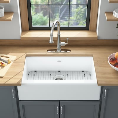 American Standard Delancey Farmhouse Apron Front 22 18 In X 33 06 In Brilliant White Single Bowl 4 Hole Kitchen Sink In The Kitchen Sinks Department At Lowes Com