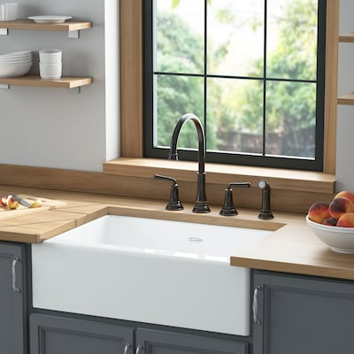 American Standard Delancey Farmhouse Apron Front 22 In X 30 In Brilliant White Single Bowl Kitchen Sink In The Kitchen Sinks Department At Lowes Com