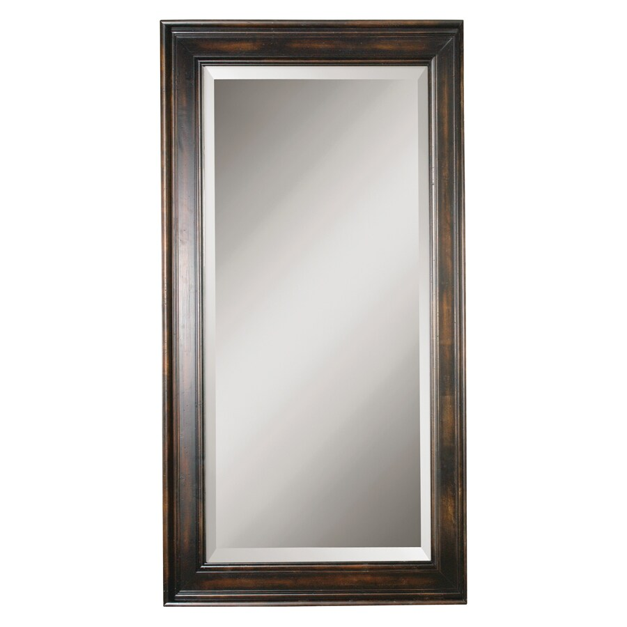 Shop global direct heavily distressed black stain beveled for Black wall mirror