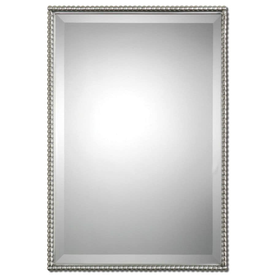 Shop global direct nickel beveled wall mirror at for Bathroom mirrors brushed nickel