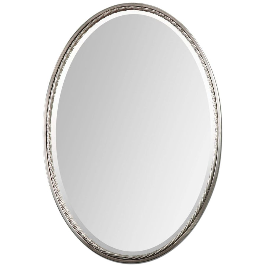 Shop global direct nickel beveled oval wall mirror at for Mirror video