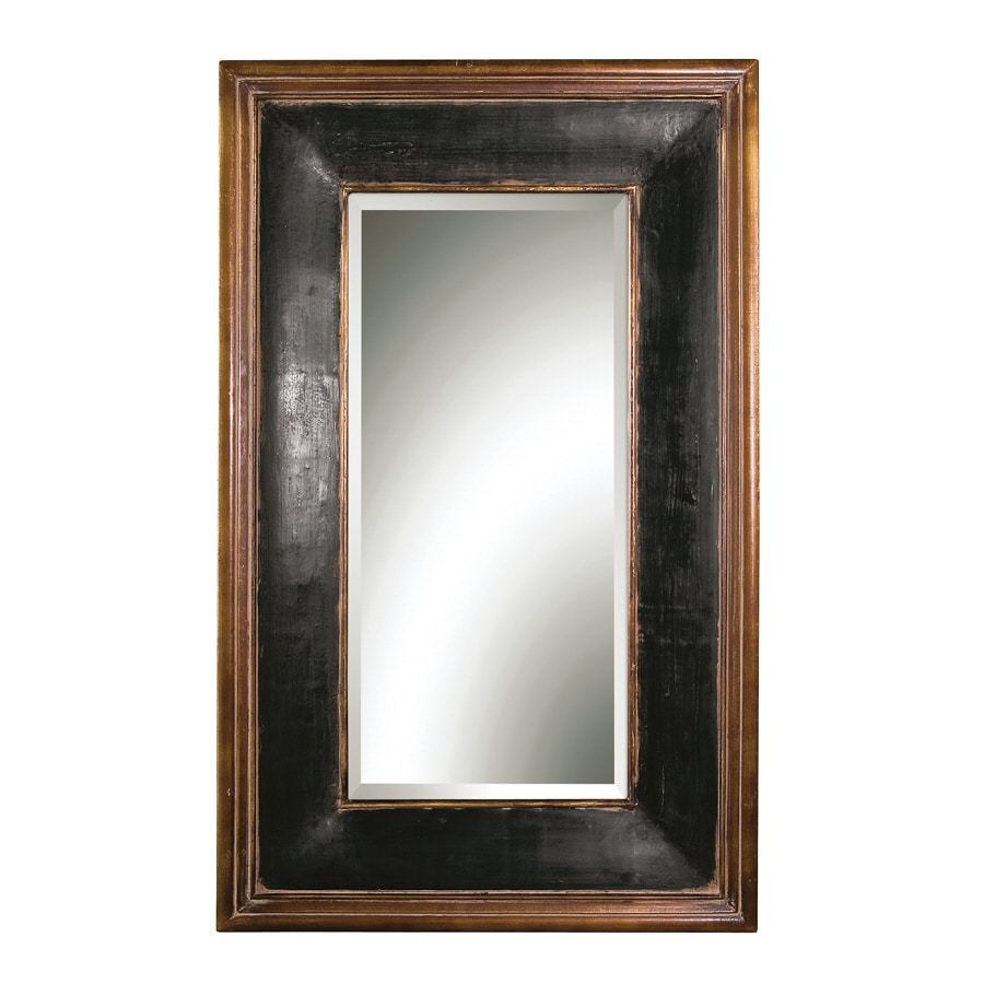 Global Direct 35.75-in x 57.75-in Aged Black, Antiqued Gold Leaf Details, Gray Wash Rectangular Framed Mirror