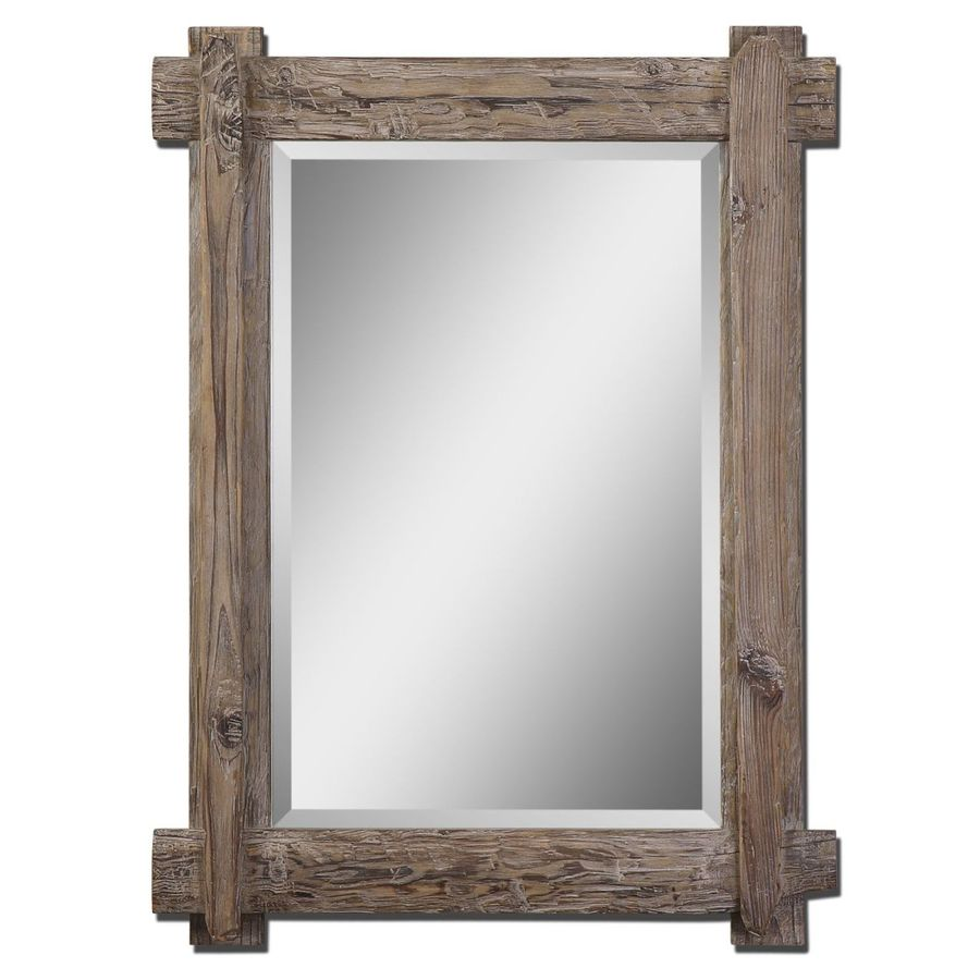Global Direct Walnut Beveled Wall Mirror