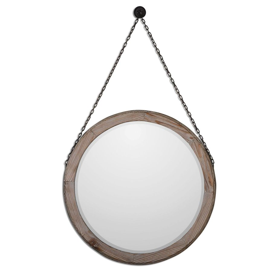 Global Direct 34-in x 34-in Stained Wood with Bronze Details Beveled Round Framed French Wall Mirror