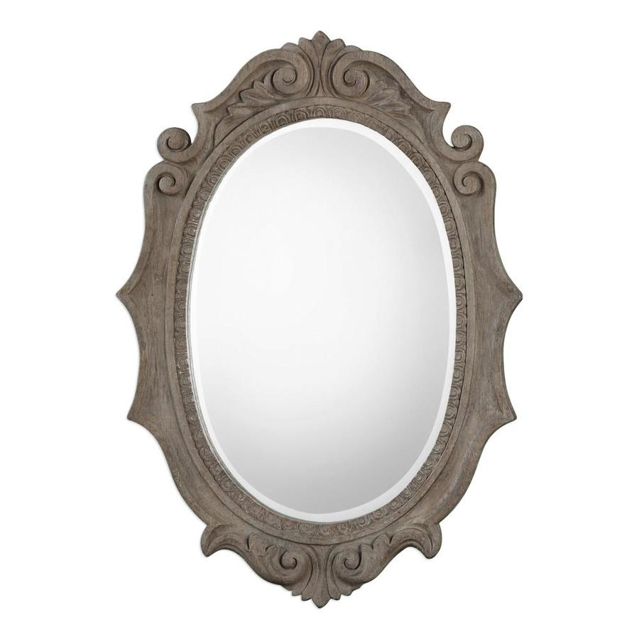 Global Direct 42 5 In L X 30 W Old Wood Finish Framed Oval Mirror Only