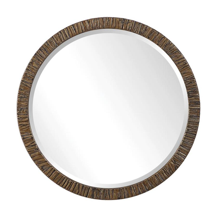 Global Direct 30 In L X 30 In W Round Heavily Distressed Antiqued Metallic Gold Leaf Framed Wall Mirror In The Mirrors Department At Lowes Com