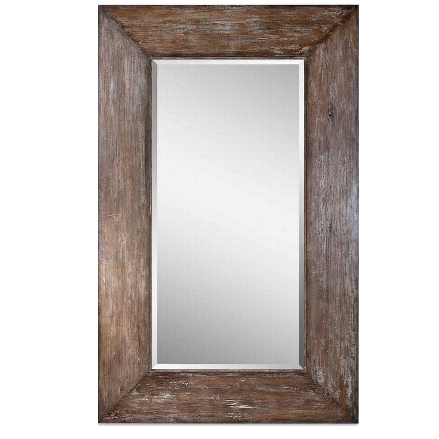 Shop global direct hickory beveled wall mirror at for Wood framed mirrors