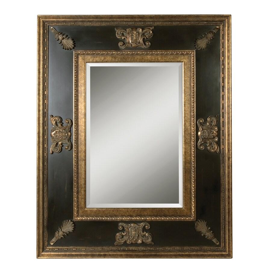 Global Direct 60-in x 48-in Gold Leaf with Heavy Antiquing, Black Distressed Panel, and Green Glaze Beveled Rectangle Framed French Wall Mirror