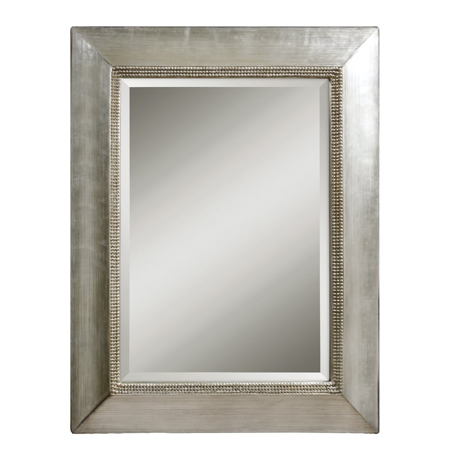 Global Direct Antiqued Scratched Silver Leaf with Black Dry Brushing Beveled Wall Mirror