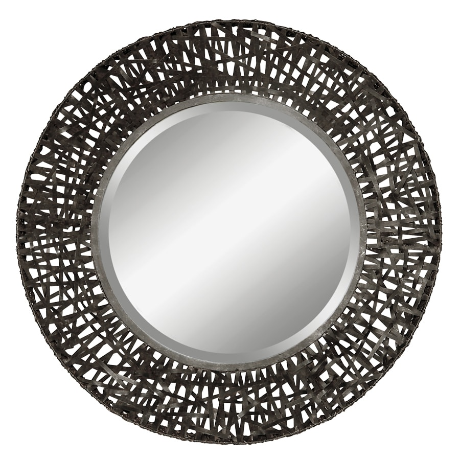 Global Direct 37-in x 37-in Black Woven Metal with Rust Brown Highlights Beveled Round Framed French Wall Mirror