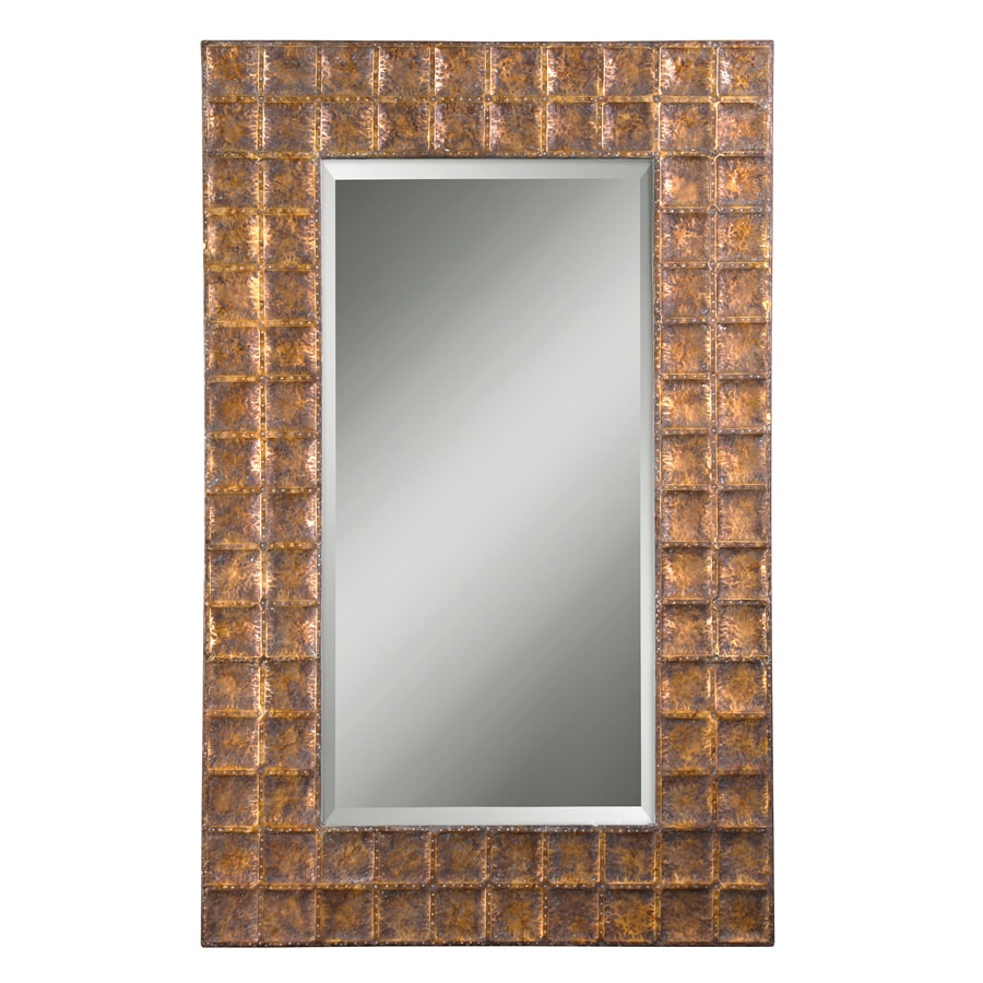 Global Direct 42.125-in x 67.25-in Antiqued Gold with A Brown Glaze Beveled Rectangle Framed French Wall Mirror
