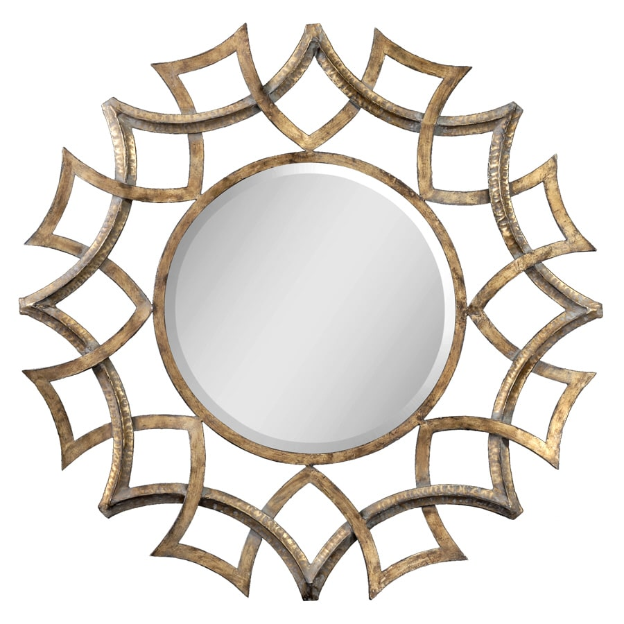 Global Direct Antiqued Gold with a Light Gray Glaze and Burnished Edges Beveled Round Wall Mirror