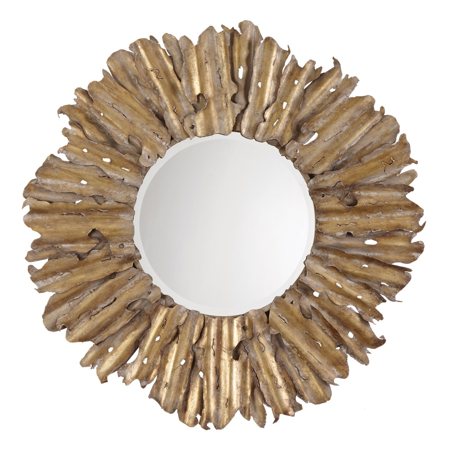 Global Direct Antiqued Gold Leaf with Burnished Edges and a Light Gray Wash Beveled Round Wall Mirror
