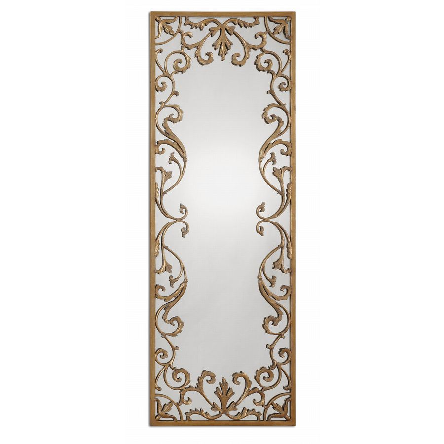 Global Direct 24.5-in x 68-in Antique Gold Leaf with Gray Wash Polished Rectangle Framed French Wall Mirror