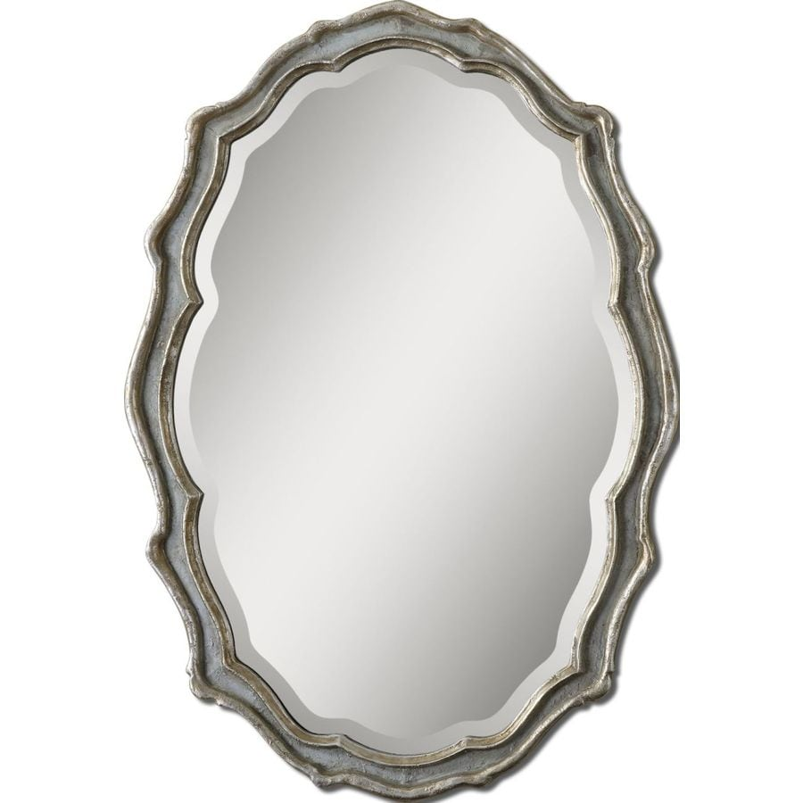 Global Direct Slate Blue Beveled Oval Wall Mirror