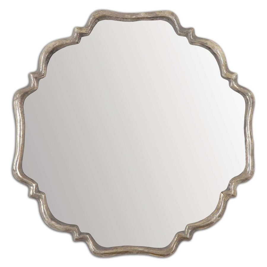 Global Direct 33-in x 33-in Plated Oxidized Silver Polished Octagon Framed French Wall Mirror