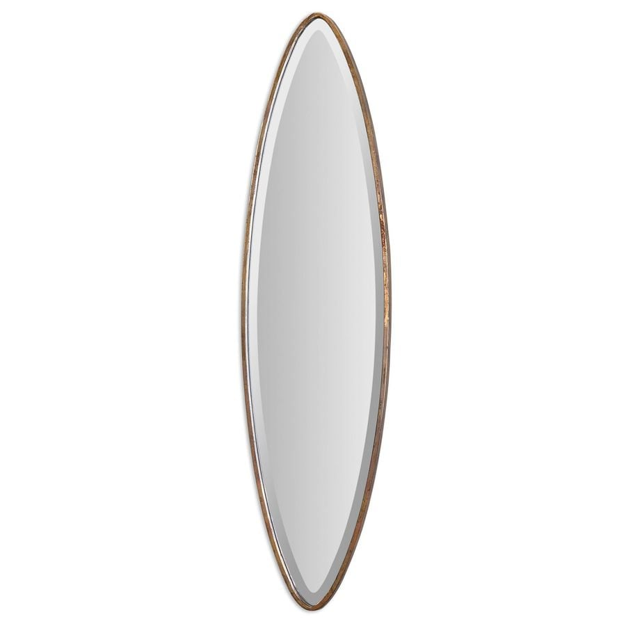 Global Direct 12-in x 45.625-in Antique Gold Beveled Oval Framed French Wall Mirror