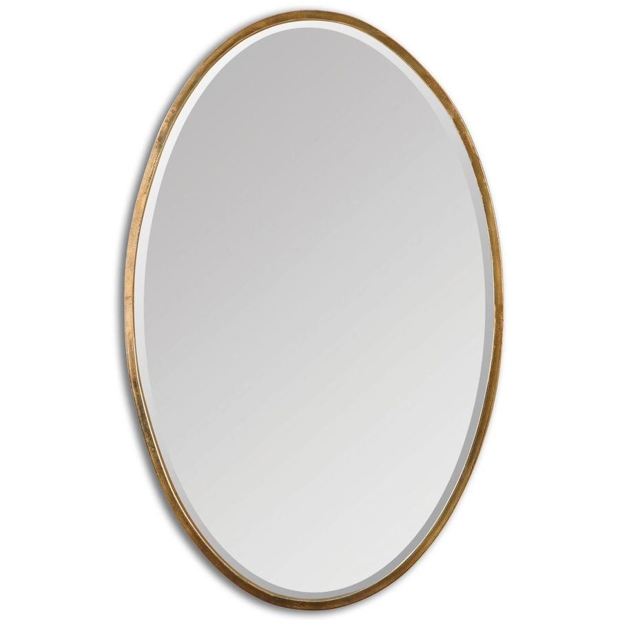 Global Direct 17.75-in x 28-in Antiqued Plated Gold Beveled Oval Framed French Wall Mirror