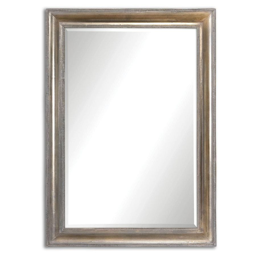 Global Direct 24.5-in x 34.5-in Oxidized Plated Silver Beveled Rectangle Framed French Wall Mirror