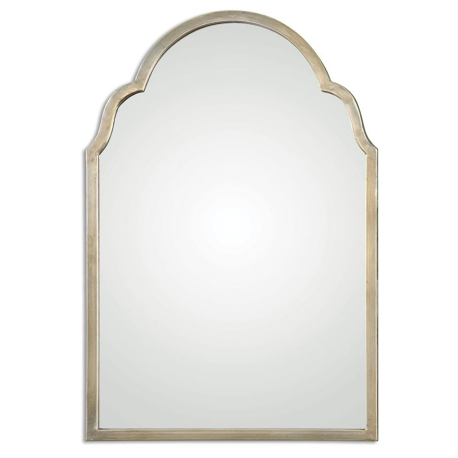 Global Direct 20.125-in x 30.125-in Plated Oxidized Silver Champagne Polished Arch Framed French Wall Mirror