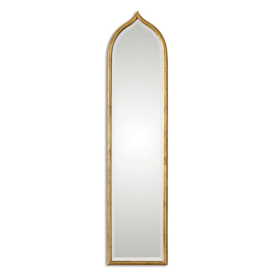 Global Direct 12.25-in x 50.125-in Antique Gold Leaf Beveled Arch Framed French Wall Mirror