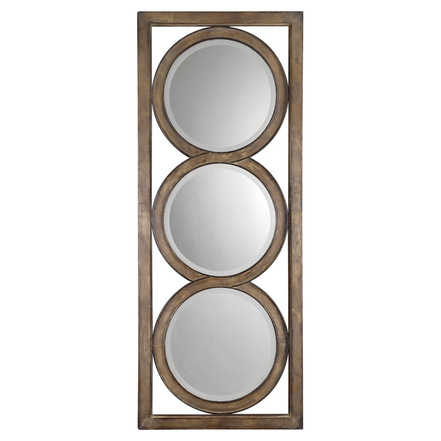 Global Direct 28.25-in x 70.625-in Bronze with Silver Undertones Beveled Rectangle Framed French Wall Mirror