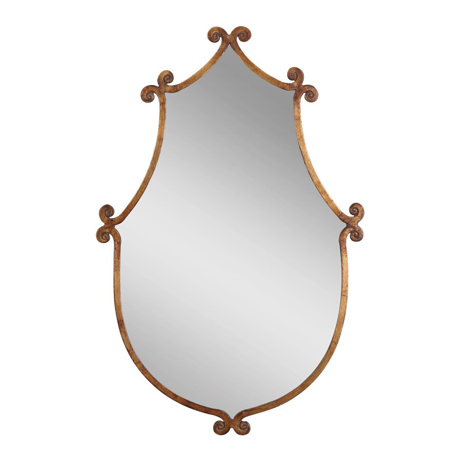 Global Direct Antiqued Gold with Burnished Edges Polished Arch Wall Mirror
