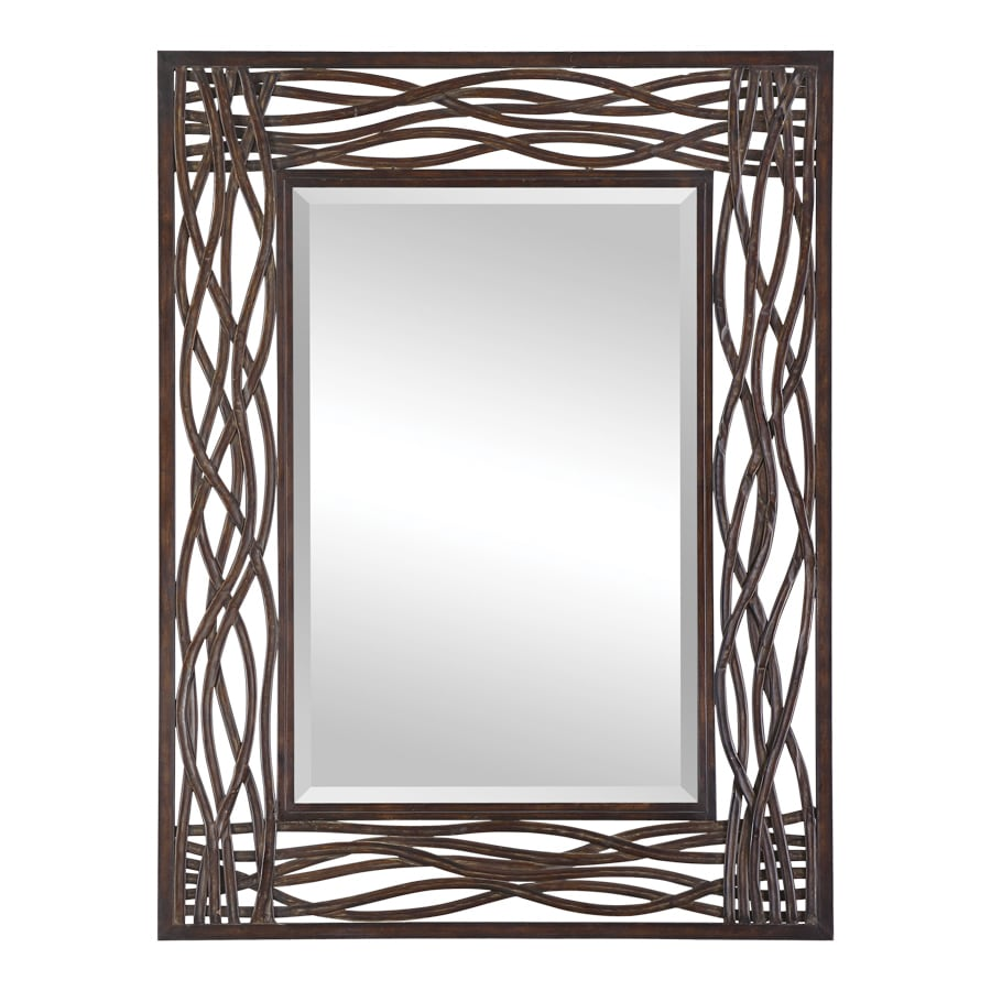 Global Direct Distressed Mocha Brown Beveled Wall Mirror