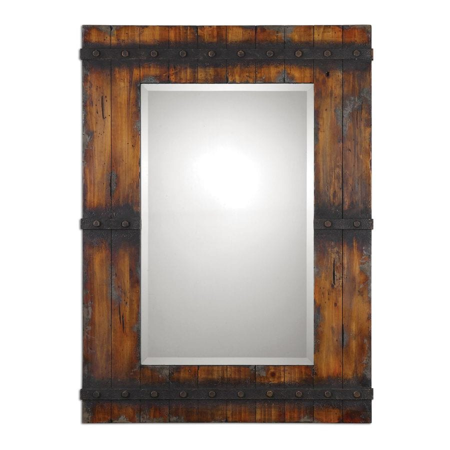 Global Direct 31.75-in x 43.25-in Antique Mahogany with Charcoal Gray Distressing Beveled Rectangle Framed French Wall Mirror