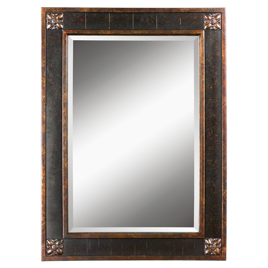 Global Direct 28.125-in x 38.125-in Distressed Chestnut Brown with Mottled Black Undertones, Gold Leaf Details and A Light Tan Glaze Beveled Rectangle Framed French Wall Mirror
