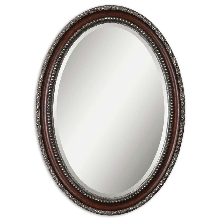 Global Direct 25-in x 35-in Mahogany Beveled Oval Framed French Wall Mirror