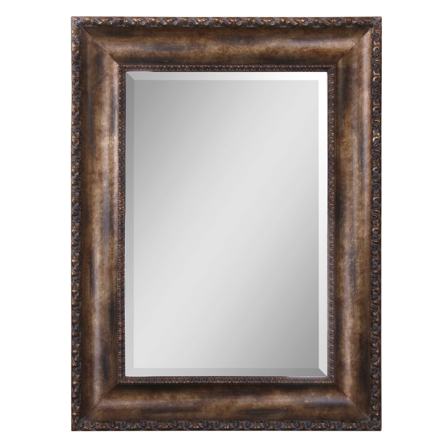 Global Direct 35.75-in x 47.75-in Antiqued Bronze Wash with Gold Leaf Undertones, Burnished Details and A Dark Gray Wash Beveled Rectangle Framed French Wall Mirror