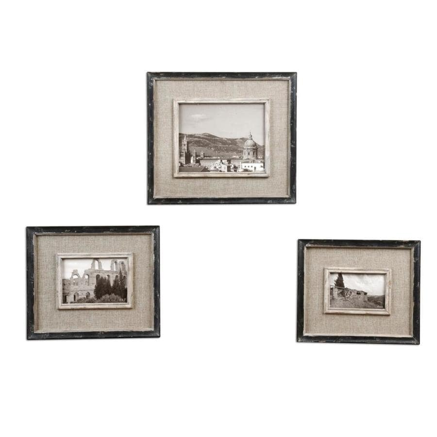 Shop Global Direct Distressed Black with Burlap Picture Frame ...
