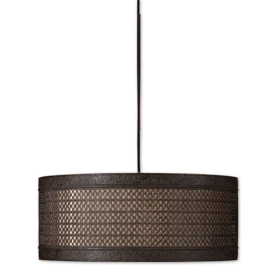 Global Direct New Orleans 22-in Semi Matte Black with Rust Antiquing Industrial Mini Clear Glass Drum Pendant