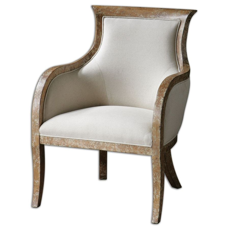 Global Direct Casual Distressed White Linen Accent Chair