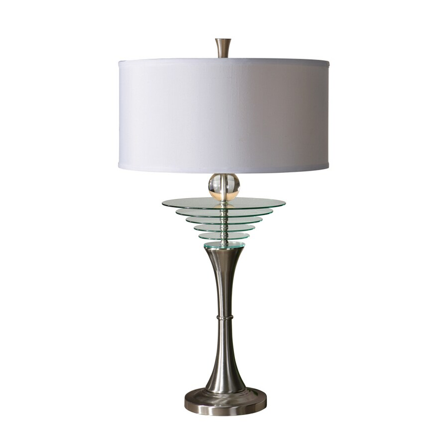 Global Direct 36-in Brushed Aluminum Table Lamp with White Shade