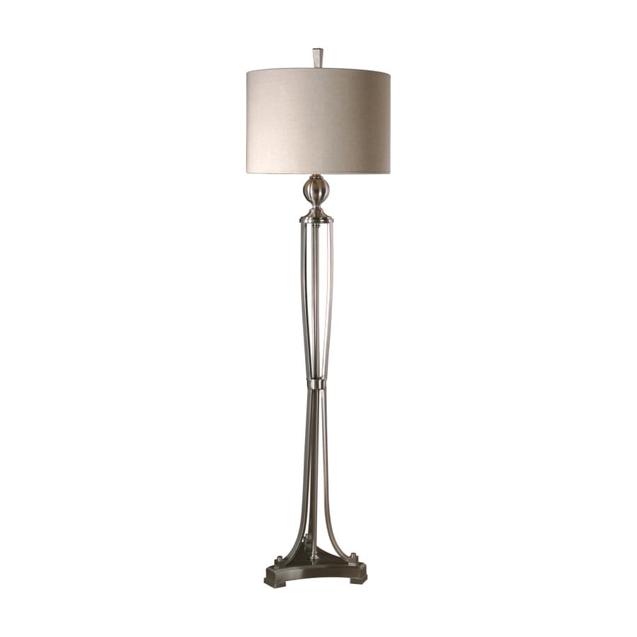 Global Direct 63.25-in 3-Way Switch Brushed Nickel Metal Finish Contemporary/Modern Shaded Floor Lamp Indoor Floor Lamp with Fabric Shade