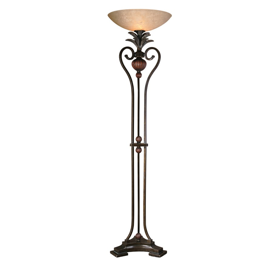 Global Direct 73-in Golden Bronze Metal with Antique Wood Tone Details Torchiere Floor Lamp with Glass Shade