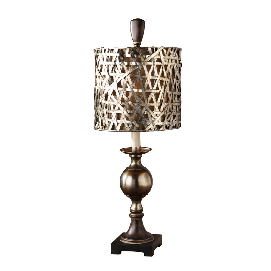 Global Direct 32-in Antiqued Silver Cast Aluminum Base with Wood Tone Details Indoor Table Lamp with Metal Shade